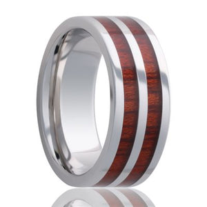 Beveled edge Tungsten band, all high polish with blood wood inlays Wedding band-TU106blood