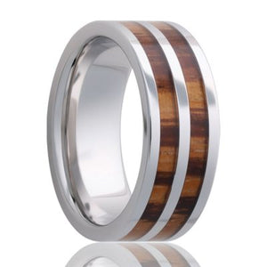 Beveled edge Tungsten band, all high polish with zebra wood inlays Wedding band-TU106zebra