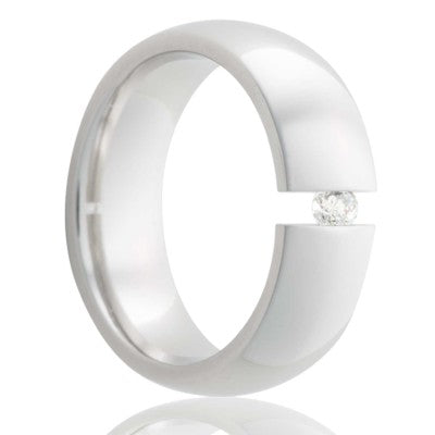 Dome step edge Cobalt tension set ring with a 3mm stone Wedding Band-C154DT