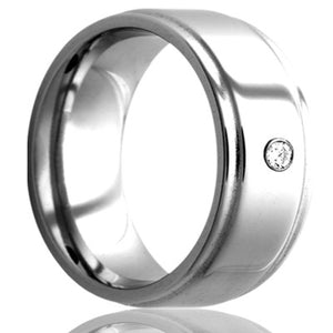 Step edge Cobalt band, all high polish, .06 G-H color SI1 Wedding Band-C117D1