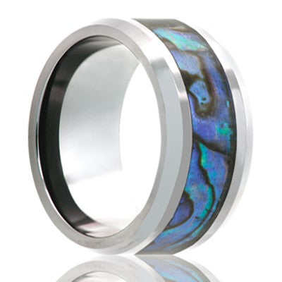 Cobalt Chrome Wedding Band Beveled edge with Abalone Inlay