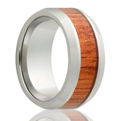 Beveled edge Tungsten band, all high polish with a 4mm blood wood inlay Wedding band-TU125BLOOD
