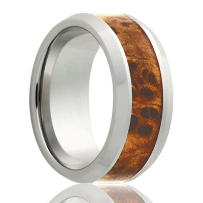 Beveled edge Cobalt band, all high polish with a 4mm Burl wood inlay Wedding Band-C125Burl