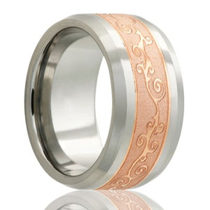Beveled edge Cobalt band, all high polish with a 4mm engraved copper inlay Wedding Band-C125CO4E