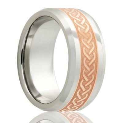 Beveled edge Cobalt band, all high polish with a 4mm engraved copper inlay Wedding Band-C125CO4I