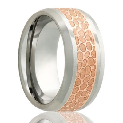 Beveled edge Cobalt band, all high polish with a 4mm engraved copper inlay Wedding Band-C125CO4J