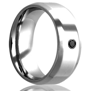 beveled edge Cobalt band, all high polish finish. .06 bezel set black diamond Wedding Band-C125DBK1