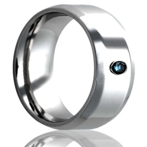 beveled edge Cobalt band, all high polish finish. .06 bezel set blue diamond Wedding Band-C125DBL1
