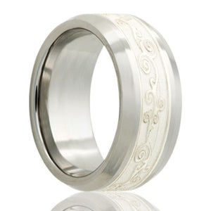 Beveled edge Cobalt band, all high polish with a 4mm engraved silver inlay Wedding Band-C125SS4E