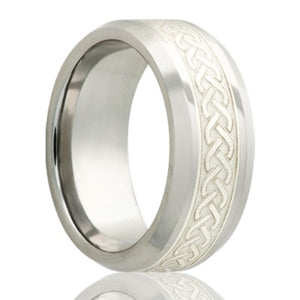 Beveled edge Cobalt band, all high polish with a 4mm engraved silver inlay Wedding Band-C125SS4I