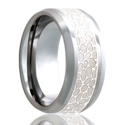 Beveled edge Cobalt band, all high polish with a 4mm engraved silver inlay Wedding Band-C125SS4J