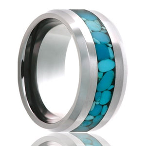 Beveled edge Cobalt band, all high polish with a 3mm turquoise inlay Wedding Band-C125TURQB