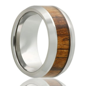 Cobalt Chrome Wedding Band with Beveled edge and Zebra Wood Inlay