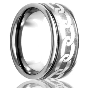 Deep groove Cobalt band, all high polish with a laser pattern Wedding Band-C127-K