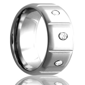 Beveled edge Cobalt band, all high polished, three .06 G-H color SI1 Wedding Band-C141D3