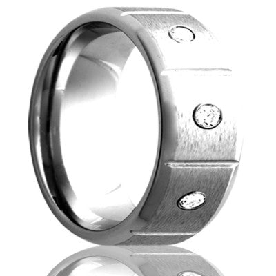 Beveled edge Cobalt band, all high polish bevel with a satin finish center, three .06 G-H color SI1 Wedding Band-C142D3