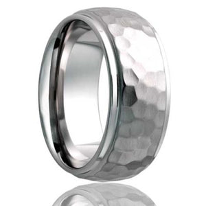 Dome step edge Cobalt Wedding Band-C153Hammer