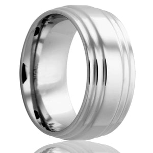 Double step edge Cobalt ring Wedding Band-C175