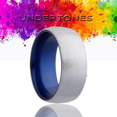 Dome Cobalt band, satin finish top, anodized sleeve Wedding Band-CA133BLUE
