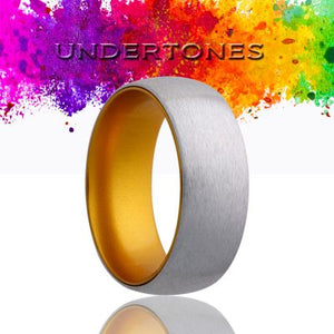 Dome Cobalt band, satin finish top, anodized sleeve. Wedding Band-CA133GOLD
