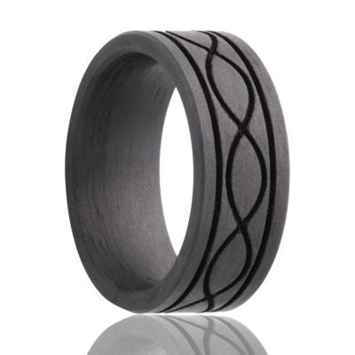 Black solid carbon fiber wedding band with inifinty love knot and groves. Heavy Stone Rings.