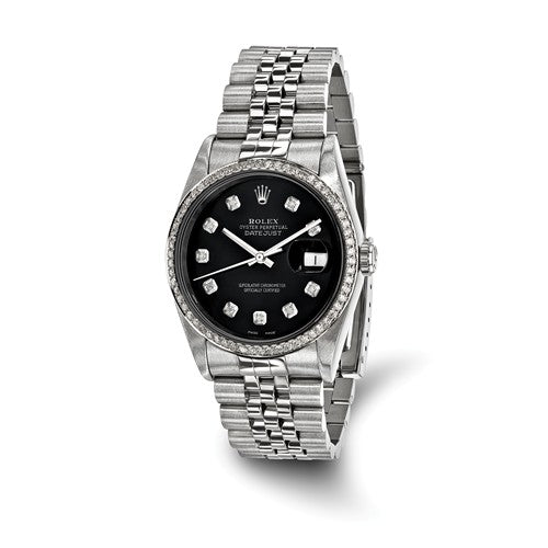 Pre-Owned Rolex Steel/18kw Bezel, Mens Diamond Black Watch