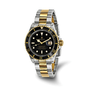 Pre-Owned Rolex Steel/18ky Mens Submariner Black Dial Watch