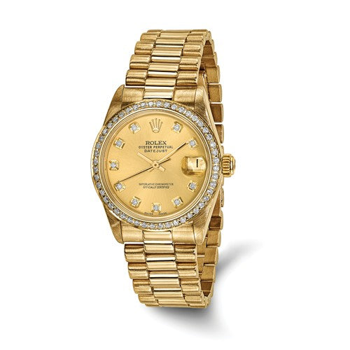 Pre-Owned Rolex 18ky Midsize Datejust Diamond Presidential Watch