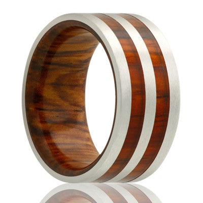 Flat cobalt band, satin finish with cocobolo wood Wedding band-CWD114COCOBOLO2