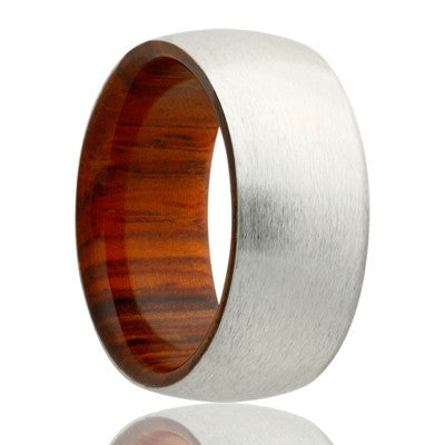 Dome Cobalt band, satin finish with cocobolo wood Wedding band-CWD133COCOBOLO