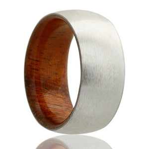 Dome Cobalt band, satin finish with koa wood Wedding band-CWD133KOA