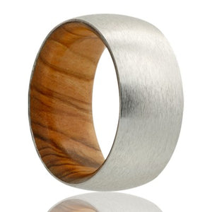 Dome Cobalt band, satin finish with olive wood Wedding band-CWD133OLIVE