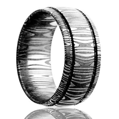 Damascus Steel Wedding Band D112
