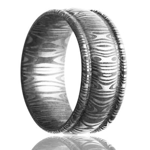 Damascus Steel Wedding Band D159