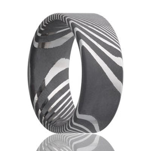 Damascus Steel Wedding Band D801