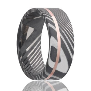 Twisted Damascus Steel ring with 14k rose gold inlay