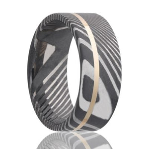 Twisted Damascus Steel ring with 14k yellow gold inlay