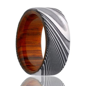 Twisted Damascus Steel ring with a wood sleeve Wedding band-DWD801COCOBOLO