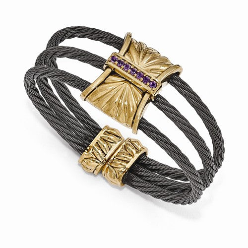 Titanium And Bronze Amethyst Cable Cuff Bangle