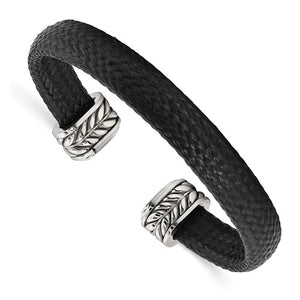 Stainless Steel Black Carbon Fiber Cuff Bracelet