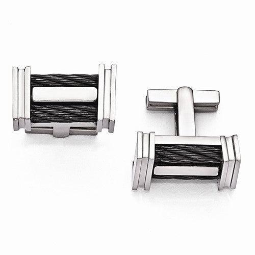Titanium Cable Polished Cuff Links