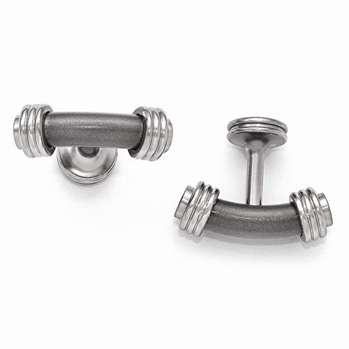 Titanium And Steel Laser Texture/Polished Cuff Links