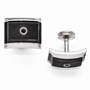 Black Ti And Steel Black Spinel Sterling Silver Bezel Cuff Links