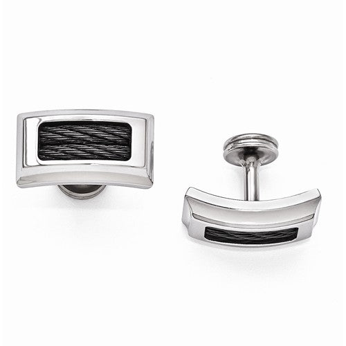 Titanium And Black Memory Cable Polished Cuff Links