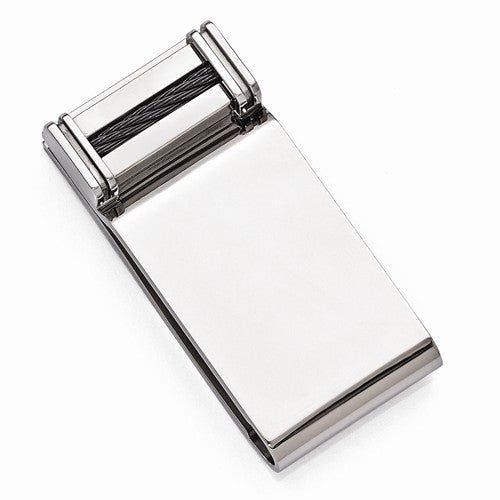 Titanium Cable Polished Money Clip
