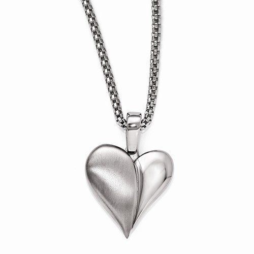 Titanium Heart With 2in St. Silver Ext./St.Steel Chain Necklac