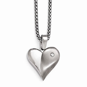 Titanium White Sapphire Heart With Silver Bezel And 2in Ext Steel