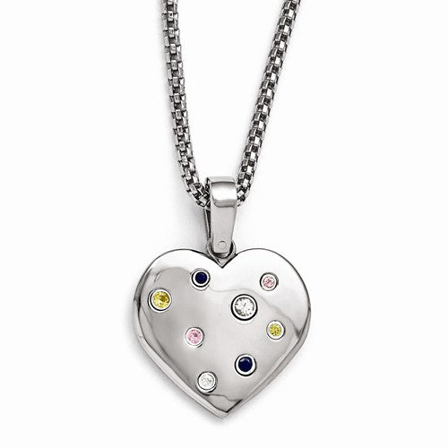 Titanium Heart Multi-Color Sapphire With Silver Bezels And 2in Ex