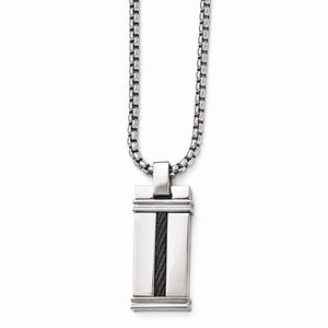 Titanium And Cable Polished Pendant Necklace
