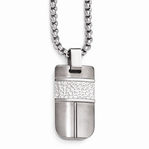 Titanium And Sterling Silver Hammered Pendant Necklace